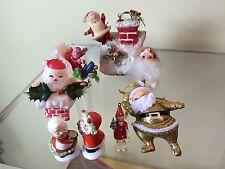 Lot of 8 Various Vtg Santa Figures - Plastic Ceramic Glitter Tinsel