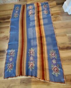 """Vintage Cable Knit & Floral Needlepoint Afghan Throw Blanket 42""""x80"""""""