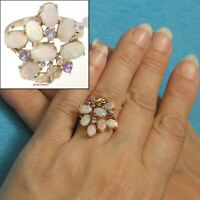 14k Solid Yellow Gold; 7 Cabochon Cut Genuine Opal & Amethyst Cocktail Ring TPJ