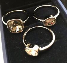 Auth swarovski Crystal Silver 3 Rings Set Sz 9 New With Box