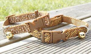 Dog Collar Nylon Puppy X-Small Medium Tough Strong Clip Leopard Tiger Brown New