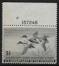 RW12 VF MNH OG PLATE# SINGLE 1945 FEDERAL DUCK HUNTING STAMP (REM #RW12-417)