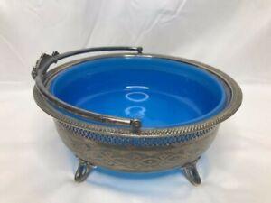 RARE A.G. Dufva Art Nouveau Silver Bowl with Blue Glass Insert Stockholm Sweden