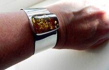IMPRESSIVE! Vtg 40g sterling silver 925 studio amber gem cuff bangle bracelet