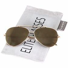Rose Gold Women Sunglasses Aviator Mirrored Metal Oversized Glasses New