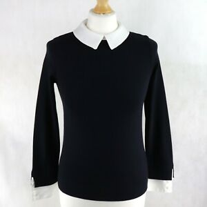 Womens HOBBS Layered Pullover Sweater Knitted Blouse Size XS UK 6-8 White collar