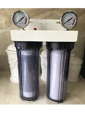 "2 Stage 10"" Whole house water filter Sediment Carbon RV.WELL.POOL.BOILER 3/4 In"