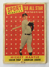 1958 Topps Mickey Mantle All Star Card - #487 - Poor Condition