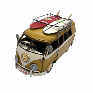 21cm Officially Licensed Yellow VW Kombi + Surfboards Vintage Style Metal Car