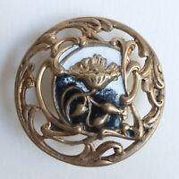 Bouton ancien - Émail - Art Nouveau - 32 mm - 1900 - Enamel Button > 1-1/4 in.