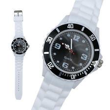 Silikon Armbanduhr Damen Kult Trend Gummi Watch weiß / schwarz ( F3 )