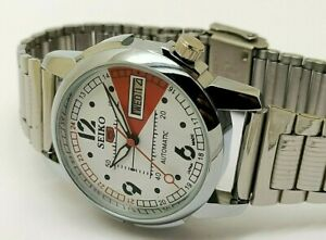 genuine seiko 5 automatic men steel white dial day date 17 jewel watch run order