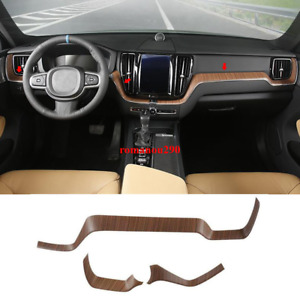 For Volvo XC60 2018 2019 Wood Grain Interior Dashboard Center Console Cover Trim