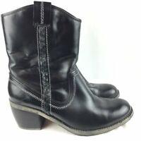 Hush Puppies Women's Size 9.5 Black Leather Western Boots Waterproof  Heel