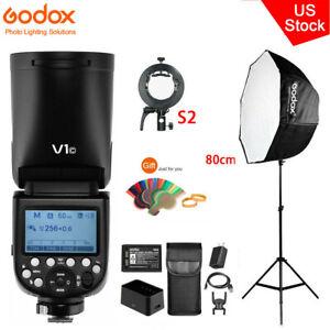 US Godox V1-C HSS Round Head Flash Speedlite+S2 Bracket+80cm Umbrella Softbox