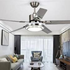 US 52'' Ceiling Fan Light 5 Stainless Steel Blades LED Fan Lamp w/Remote Control