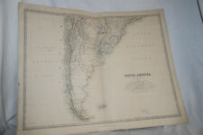 SOUTH AMERICA 1877 Antique Map Print W & AK Johnstone, FALKLAND ISLANDS