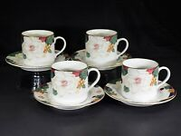 4 Sets | Tienshan | Magnolia | Flat Cup and Saucer Sets | New | Discontinued