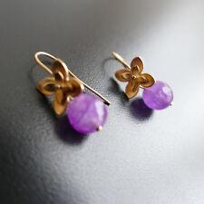 Ohrringe Ohrhänger Blume gold-rose Farbe mit Edel Pink Jade 9mm,von  Catia Levy