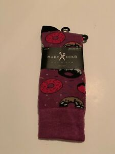 New Marc Ecko Men's Dress Casual Novelty Crew Socks Donuts Sprinkles Purple Pink