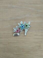 Jewellery Brooch with coloured stones Silver high Heeled Shoe Costume