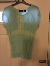 Separates Ladies Mint Green Crinkle S/S Lace Trim Top Size Large