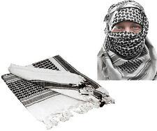 White & Black Shemagh Tactical Desert Keffiyeh Arab Heavyweight Scarf