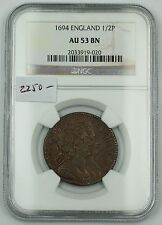 1694 England Half Penny 1/2P Copper Coin NGC AU-53 BN Almost Uncirculated AKR