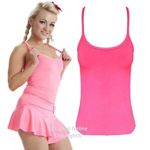 New Ladies Casual Neon Vest Top  Stretchy Racer Back Tops Fancy Dress Size 8-16