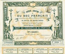France Light Bulb Company stock certificate 1907 Du Bec Francais