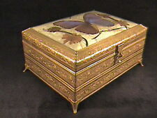 VICTORIAN JEWELRY BOX, BEAUTIFUL GOLD DORE' TRINKET MUSIC BOX WITH BUTTERFLY