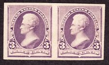 US 221P4a 3c Plate Proof Pair on Stamp Paper XF OG PH SCV $225