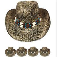 COWBOY Western HAT Shapeable STRAW Cowgirl Cap Raffia MEN WOMEN