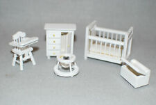 NIB Half Scale Miniature White 5 pc. Baby Room Crib,Dresser,Toy Box,High Chair