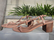 Tory Birch MILLER Nude Makeup Mid Heel Block Sandals, Leather, Wmns US Sz 10M