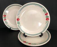 """Vintage Corelle Farm Fresh 10 1/4"""" Dinner Plates Set Of 4 Checked Fruit Vegtable"""