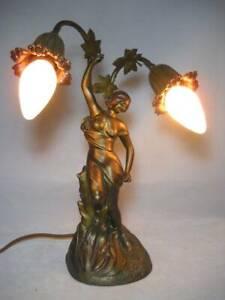 Signed Moe Bridges Lady Figural Lamp w/ 2 Lights Flower Blossom Sockets Lovely