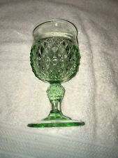 Indiana glass diamond point Light green Vintage Wine Glass or Goblet