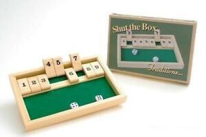 Wooden Travel Shut The Box Game Set Gift Fun Pub Kids Toy Mini Dice Learning