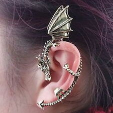 USA - Vintage Punk Evil Dragon Fly Clip  Silver Metal Bite Ear Cuff Wrap Earring