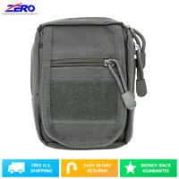 Gray Small Utility Pouch Heavy Duty PVC MOLLE PALS Tactical Gear Zippered Gear