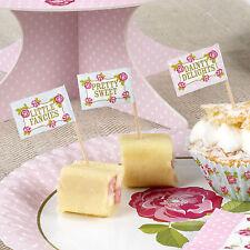 20 Vintage Rose Cupcake Flag Cocktail Sticks -pink Party Tableware Afternoon Tea