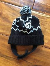 Wag A Tude Pom Hat Dog XS Small Puppy Beanie Pet Accessory Black & White Skull