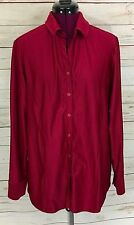 QVC Dialogue Solid Stretch Knit Shirt w/ Button Front A3388 Maroon Red Size L
