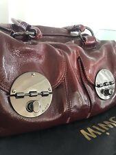 Mimco Turnlock Bag Patent Maroon With Gunmetal Hardware
