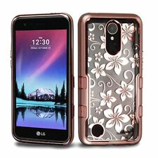 For LG Grace 4G/Harmony/K10/K20 Plus/K20 V Rose Gold Hibiscus Flower Hybrid Case