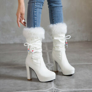 Women's Winter Faux Fur Round Toes High Heel Platform Mid-Calf Boots Shoes