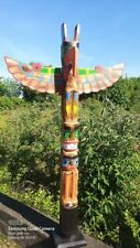 More details for giant totem pole 200cm hand carved wooden painted native american man cave