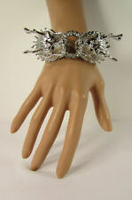 Women Chinese Dragon Cuff Bracelet Fashion Jewelry Rhinestone Gold Silver Fancy