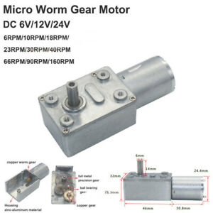 Mini 370 Turbo Worm Gear Motor DC6V 12V 24V Reversible Metal Gearbox High Torque